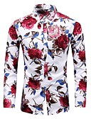 cheap Men's Shirts-Men's Basic Shirt - Floral Print