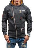 cheap Men's Shirts-Men's Sports Basic Long Sleeve Hoodie / Hoodie Jacket - Solid Colored Hooded / Fall / Winter