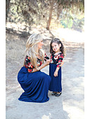 povoljno Obiteljski komplet odjeće-Mama i mene Osnovni Cvjetni print Kratkih rukava Haljina