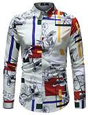 cheap Men's Shirts-Men's Club Business / Basic Plus Size Slim Shirt - Color Block Tropical Leaf, Print Classic Collar White XXXL / Long Sleeve