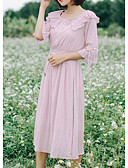 tanie T-shirt-Damskie Podstawowy Szczupła Spodnie - Solidne kolory Rumiany róż / Dekolt w kształcie litery U