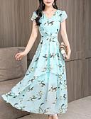 povoljno Ženske haljine-Žene Vintage Puff rukav Shift Haljina - Rese, Jednobojni Do koljena Crno-crvena