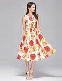 billige Todelt dress til damer-Dame Bohem / Gatemote A-linje / Swing Kjole - Blomstret, Trykt mønster Midi