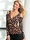 baratos Blusas Femininas-Mulheres Camiseta Moda de Rua Estampado, Leopardo