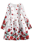 cheap Girls' Dresses-Toddler Girls' Active / Sweet Daily / Holiday Butterfly / Tropical Leaf Floral Print Long Sleeve Above Knee Spandex Dress Red