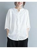 tanie Sukienki-Koszula Damskie Vintage, Frędzel Bawełna Solidne kolory Bufka Czarno-biały