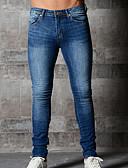 abordables Pantalones y Shorts de Hombre-Hombre Algodón Delgado Vaqueros Pantalones - Un Color Azul Piscina