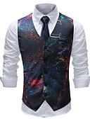 رخيصةأون سترات و بدلات الرجال-رجالي التقزح اللوني XXXL XXXXL 5XL Vest هندسي / ألوان متناوبة / منقوش