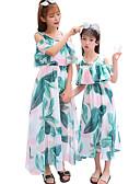 povoljno Obiteljski komplet odjeće-Djeca Mama i mene Aktivan Cvjetni print Print Kratkih rukava Maxi Haljina
