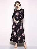 baratos Vestidos Femininos-Mulheres Feriado / Para Noite Boho / Moda de Rua balanço Vestido - Estampado, Geométrica Longo