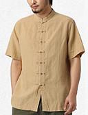 זול מכנסיים ושורטים לגברים-אחיד / שבטי עבודה פשתן, חולצה - בגדי ריקוד גברים / עומד / שרוולים קצרים