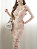 tanie Print Dresses-Damskie Podstawowy / Moda miejska Bawełna Szczupła Spodnie - Solidne kolory Z wycięciem Rumiany róż / W serek / Wyjściowe / Seksowny