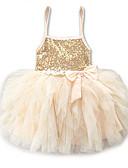 رخيصةأون ملابس الأميرات-فستان قصير جداً / فوق الركبة بدون كم دانتيل / ترتر / متعدد الطبقات لون سادة مناسب للعطلات / مناسب للخارج حلو / لطيف للفتيات طفل صغير / Ruched / مطوي / شبكة