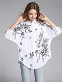 お買い得  マキシドレス-女性用 刺繍 シャツ ストリートファッション シャツカラー ルーズ フラワー コットン