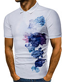 tanie Męskie koszulki polo-Polo Męskie Podstawowy Kołnierzyk koszuli Kwiaty / Krótki rękaw