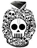 お買い得  メンズフーディー&スウェットシャツ-男性用 活発的 / 誇張された プラスサイズ ルーズ パンツ - 3D / カートゥン プリント ホワイト / フード付き / 長袖 / 秋 / 冬