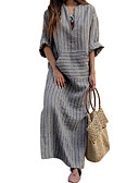 cheap Maxi Dresses-Women's Daily Street chic Maxi Loose Sheath Dress - Striped V Neck Fall Gray XXXL XXXXL XXXXXL