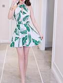 cheap Men's Shirts-Women's Daily Slim A Line Dress Halter Neck Cotton Light Green M L XL