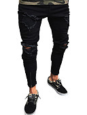 tanie Męskie koszule-Męskie Moda miejska / Punk i gotyk Bawełna Jeansy Spodnie - Otwór, Solidne kolory / Kij