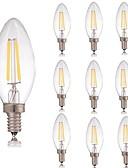 זול טישרטים לגופיות לגברים-10pcs 2 W נורת להט לד 180 lm E14 C35 2 LED חרוזים COB דקורטיבי לבן חם לבן קר 220-240 V / RoHs