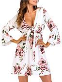 abordables Robes à Motifs-Femme Soirée Au dessus du genou Balançoire Robe Printemps Blanc M L XL Coton Manches 3/4 / Sexy