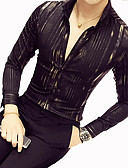 זול חולצות לגברים-פסים כותנה, חולצה - בגדי ריקוד גברים / שרוול ארוך