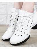 זול טישרט-בגדי ריקוד נשים סניקרס לריקוד עור נאפה Leather נעלי ספורט עקב קובני נעלי ריקוד לבן / שחור / אדום כהה / הצגה / אימון