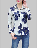 cheap Women's T-shirts-Women's Cotton Slim Shirt - Solid Colored / Floral / Geometric Print Shirt Collar