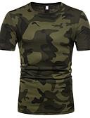 ieftine Maieu & Tricouri Bărbați-Bărbați Rotund Tricou Bumbac camuflaj / Manșon scurt