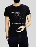 ieftine Maieu & Tricouri Bărbați-Bărbați Tricou Mată / Geometric / Scrisă Imprimeu
