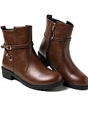 cheap Quartz Watches-Women's Shoes PU(Polyurethane) Winter Comfort / Bootie Boots Low Heel Black / Blue / Dark Brown