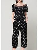 baratos Vestidos de Mulher-Mulheres Conjunto Poá Calça