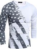 baratos Camisetas & Regatas Masculinas-Homens Camiseta Básico Estampado, Geométrica Algodão / Manga Longa