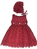 billige Babykjoler-Baby Jente Vintage Jul / Ut på byen / Bursdag Ensfarget Ermeløs Knelang Bomull / Polyester Kjole Hvit