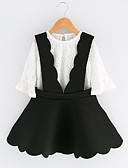 tanie Sukienki dla dziewczynek-Dzieci Dla dziewczynek Moda miejska Codzienny / Wyjściowe Solidne kolory Koronka Rękaw 3/4 Regularny Poliester Komplet odzieży Biały