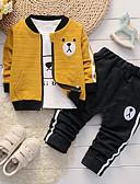 billige Sett med Gutter babyklær-Baby Gutt Fritid / Grunnleggende Daglig / Sport Panda Jacquardvevnad Broderi Langermet Normal Normal Bomull / Lin Tøysett Grønn