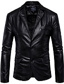 cheap Men's Jackets & Coats-Men's Leather Jacket - Solid Colored Shirt Collar / Long Sleeve