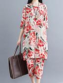 זול חליפות שני חלקים לנשים-מכנס דפוס, פרחוני - חולצה / סט ארוך כותנה פעיל מידות גדולות בגדי ריקוד נשים