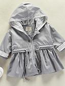 billige Ytterklær til baby-Baby Jente Grunnleggende Daglig Ensfarget Langermet Normal Polyester Trenchcoat Grå