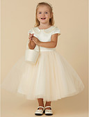 cheap Flower Girl Dresses-Ball Gown Tea Length Flower Girl Dress - Satin / Tulle Short Sleeve Jewel Neck with Beading / Pearls by LAN TING BRIDE®