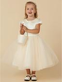 preiswerte Kleider für die Blumenmädchen-Ballkleid Tee-Länge Blumenmädchenkleid - Satin / Tüll Kurzarm Schmuck mit Perlenstickerei / Perlen Verzierung durch LAN TING BRIDE®
