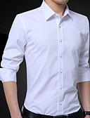 رخيصةأون قمصان رجالي-للرجال قميص عمل قطن لون سادة / كم طويل