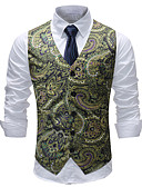 cheap Men's Blazers & Suits-Men's Plus Size Vest-Print / Sleeveless