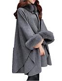 billige BH'er-Dame Daglig Grunnleggende Høst vinter Lang Cloak / Capes, Ensfarget Rund hals Langermet Polyester Kamel / Grå XL / XXL / XXXL
