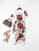 abordables Abrigo y Gabardinas de Mujer-Mujer Básico / Elegante Vaina Vestido Floral Midi