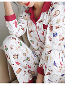 cheap Robes & Sleepwear-Women's Round Neck Suits Pajamas Solid Colored