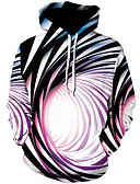 cheap Men's Tees & Tank Tops-Men's Plus Size Sports Street chic / Punk & Gothic Long Sleeve Hoodie - Color Block / 3D Print Hooded Rainbow XXXL / Spring / Fall