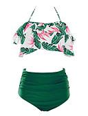 billige Bikinier og damemote 2017-Dame Bohem Grime Oransje Rosa Gul Høy Midje Bikini Badetøy - Blomstret Drapering / Trykt mønster XL XXL XXXL