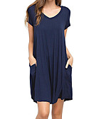 cheap Women's Dresses-Women's Daily / Going out Basic Loose T Shirt Dress - Solid Colored V Neck Summer Navy Blue Purple Wine M L XL