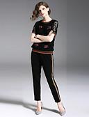 זול חליפות שני חלקים לנשים-מכנס רקום, פרחוני - Polo פעיל / סגנון רחוב בגדי ריקוד נשים